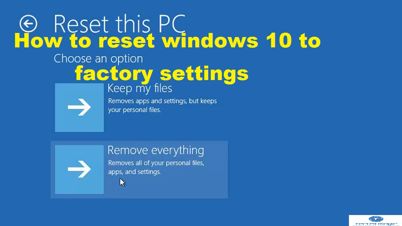 factory reset window 10