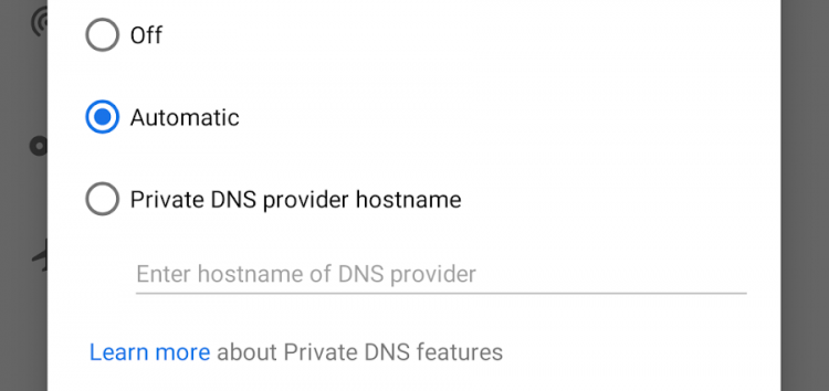 Xiaomi Private DNS feature