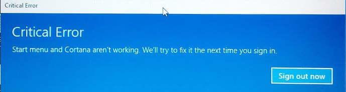 Start menu and Cortana aren't working Windows 10
