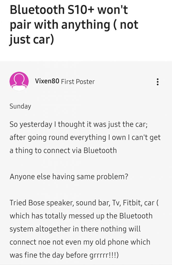 Samsung Galaxy S10 Bluetooth problem: Music Frequent Pause