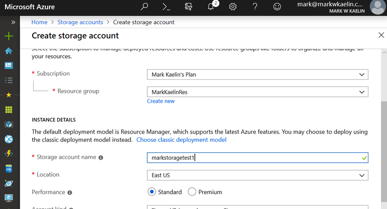 how to create storage account in Azure