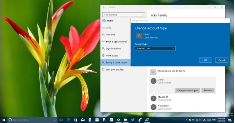 how to change main account on windows 10