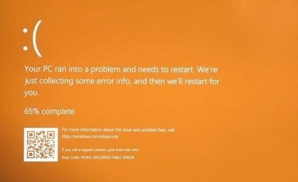 orange screen of death windows 10